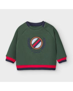 Mayoral Boys Sweattop Green Crest Embroidery Size 6m-36m | Sweaters For Babies 2474 Green