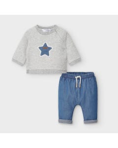 Mayoral Boys 2Pc Top & Pant Denim & Grey Stripe Star Applique Size 0m-18m | Two Piece Outfits For Babies 2560 Stripe