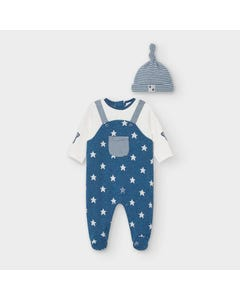 Mayoral Boys 2 Pc Romper & Hat Blue & Star Print & Stripe Size 0m-18m | Kids Rompers 2634 Blue