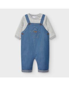 Mayoral Boys 2Pc Overall & Tshirt Denim & Grey Stripe Top Size 0m-18m | Two Piece Sets For Babies 2637 Denim