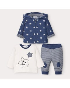 Mayoral Boys 3 Pc Tracksuit Navy Stars & Stripe Print Hooded Size 0m-18m | Junior Tracksuits 2642 Blue