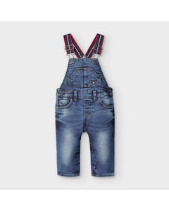 Mayoral Boys Overalls Denim Soft Red & Navy Stripe Suspenders Size 6m-36m | Toddler Shorts 2655 Denim