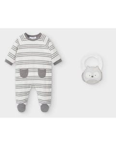 Mayoral Boys Sleeper & Bib White & Grey Stripe Pockets Size 0m-18m | Baby Sleeper Suits 2763 Stripe