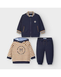 Mayoral Boys 3 Pc Tracksuit Navy & Tan Stripe Hoodie 2 Tops Size 6m-36m | Toddler Tracksuits 2888 Navy