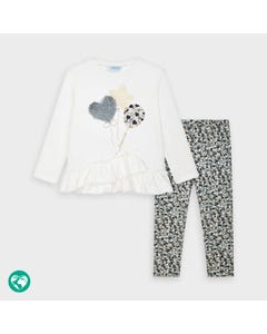 Mayoral Girls 2 Pc Legging Set White & Grey Heart Print & Flounce Trim Size 2-9 | Girls Sports Leggings 4725 Ivory