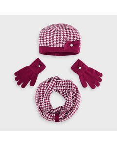 Mayoral Girls 3 Pc Hat Scarf & Gloves Cherry Herringbone Pattern Size 4-16 | Outerwear For Girls 10895 Red