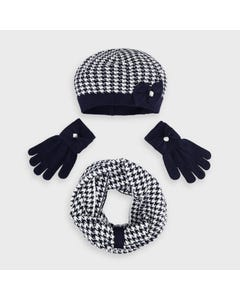 Mayoral Girls 3 Pc Hat Scarf & Gloves Navy Herringbone Pattern Size 4-16 | Girls Outerwear 10895 Navy