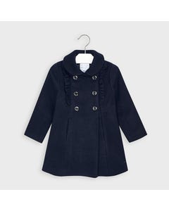 Mayoral Girls Coat Navy Double Breasted Ruffle Trim Size 2-9 | Baby Jackets 4409 Navy