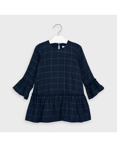 Mayoral Girls Dress Navy & Gold Plaid Bell Like Sleeve Size 2-9 | Girls Party Dresses 4973 Navy