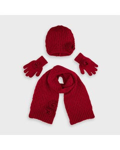 Mayoral Girls 3Pc Scarf Hat Red & Gloves Size 4-16 | Toddler Scarves 10897 Red