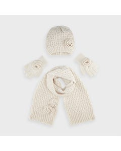 Mayoral Girls 3Pc Scarf Hat Beige & Gloves Size 4-16 | Scarves For Babies 10897 Beige