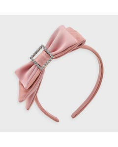Mayoral Girls Headband Blush Velour Square Buckle Trim Size OS | Childrens Hair Accessories 10913 Pink