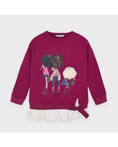 Mayoral Girls Pullover Top Cherry 3 Girls With Umbrellas Size 2-9 | Girls Designer Shirts 4401 Red