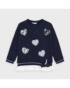 Mayoral Girls Pullover Navy Sequin Hearts Applique Size 2-9 | Baby Girl Shirts 4401 Navy