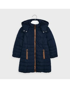 Mayoral Girls Coat Navy Hooded Faux Leather Trim Size 2-9 | Toddler Coats 4415 Navy