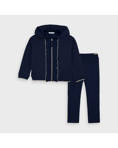 Mayoral Girls 2 Pc Tracksuit Navy Gold Trim Hooded Frill Edging Size 2-9 | Junior Tracksuits 4824 Navy