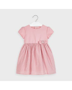 Mayoral Girls Dress Blush Velour Lines & Bow Trim Size 2-9 | Girls Designer Dresses 4964 Pink