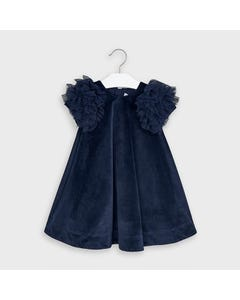 Mayoral Girls Dress Navy Velour Tulle Sleeve Trim Size 2-9 | Girls Designer Dresses 4965 Navy