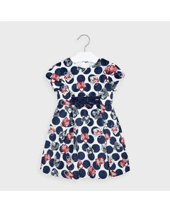 Mayoral Girls Dress Navy & White Print Red Purses Size 2-9 | Kids Dress For Girls 4968 Navy