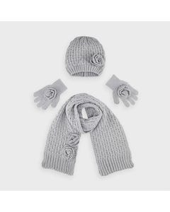 Mayoral Girls 3Pc Hat & Scarf Grey & Gloves Size 4-16 | Scarves For Babies 10897 Grey