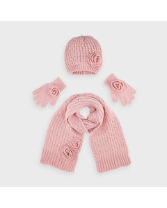 Mayoral Girls 3Pc Hat & Scarf Blush & Gloves Size 4-16 | Scarves For Babies 10897 Pink
