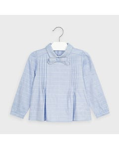 Mayoral Girls Blouse Blue & Silver Check Pleats & Bow Trim Size 2-9 | Baby Girl Shirts 4148 Blue