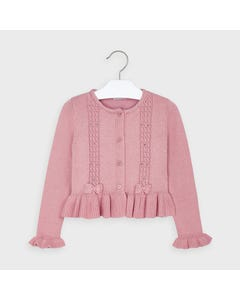 Mayoral Girls Cardigan Blush Tricot Silver Dot Cablestitch Size 2-9 | Girls Sweater Dress 4350 Pink