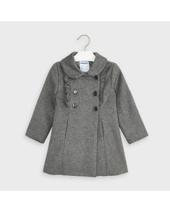 Mayoral Girls Coat Grey Wool 6 Buttons Frill Trim Size 2-9 | Baby Jackets 4409 Grey
