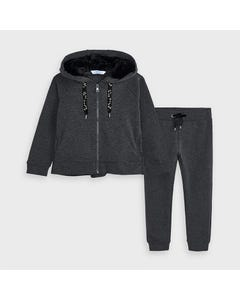 Mayoral Girls 2Pc Tracksuit Charcoal Fur Hoodie Size 2-9 | Baby Tracksuits 4823 Charcoal
