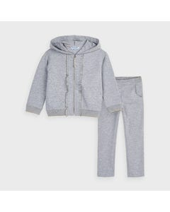Mayoral Girls 2Pc Tracksuit Grey Hooded Gold Thread Trim & Frill Size 2-9 | Junior Tracksuits 4824 Grey