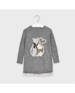 Mayoral Girls 2Pc Dress & Top Grey Knit Kitten Print Size 2-9 | Girls Designer Dresses 4966 Grey