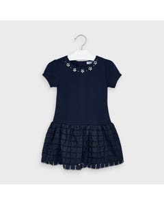 Mayoral Girls Dress Navy Knit & Tulle Plaid Skirt Silver Flower Trim Size 2-9 | Girls Dresses 4962 Navy
