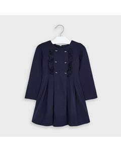 Mayoral Girls Dress Navy Frill & Gold Bows Trim Flare Bottom Size 2-9 | Kids Dress For Girls 4967 Navy