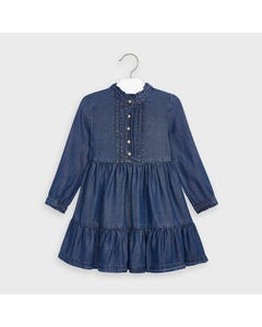 Mayoral Girls Dress Denim Soft Front Closure Size 2-9 | Baby Girl Dresses 4980 Denim