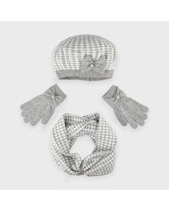 3PC HAT & SCARF GREY & WHITE & GLOVES BOW TRIM