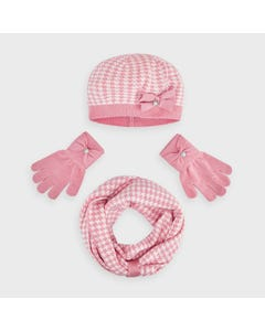 3PC HAT & SCARF PINK & WHITE & GLOVES BOW TRIM