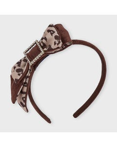 Mayoral Girls Headband Brown Leopard Print Square Buckle Trim & Bow Size OS | Hair Accessories For Toddlers 10913 Brown