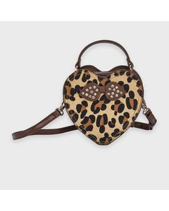 Mayoral Girls Handbag Brown Paw Print Leatherette Bow & Rstones Size OS | Kids Purses 10919 Brown