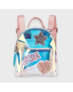 Mayoral Girls Backpack Clear Pink Fun Heart & Star Applique Fur & Sequins Size OS | Kids Bags 10922 Pink