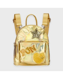 Mayoral Girls Backpack Gold Heart Star & Fun Fur & Sequins Applique Size OS | Childrens Backpacks 10922 Gold