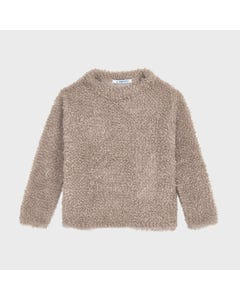 Mayoral Girls Sweater Top Tan Fuzzy Size 2-9 | Toddler Girl Sweaters 4346 Tan