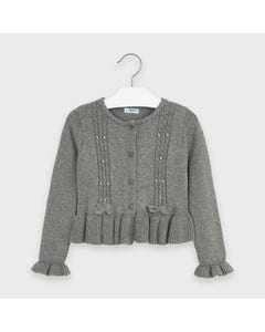 Mayoral Girls Cardigan Grey Tricot Bow Trim Size 2-9 | Toddler Girl Sweaters 4350 Grey