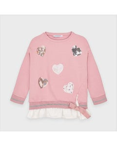 Mayoral Girls Pullover Top Blush Sequin Hearts Applique Size 2-9 | Baby Girl Sweaters 4401 Pink