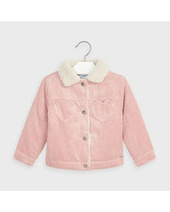 Mayoral Girls Jacket Blush Corduroy Fleece Lining Heart Shaped Pockets Size 2-9 | Kids Coats 4407 Pink
