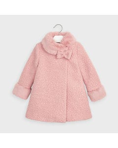 Mayoral Girls Coat Blush Fur Collar & Cuff Size 2-9 | Kids Jackets 4411 Pink