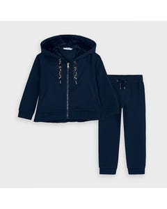 Mayoral Girls 2 Pc Jogging Set Navy Fur Hoodie Size 2-9 | Toddler Tracksuits 4823 Navy