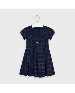 Mayoral Girls Dress Navy Jacquard Gold Thread Check Size 2-9 | Girls Party Dresses 4979 Navy