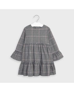 Mayoral Girls Dress Grey Check Cotton Bell Sleeve Size 2-9 | Baby Girl Dresses 4983 Grey
