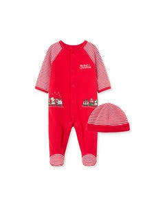 Little Me Boys 2Pc Sleeper & Hat Red Train Embroidered Striped Sleeve Size NB-9M | Baby Sleeper Suits 10201N Red