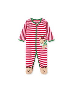 Little Me Boys Sleeper Red & White Stripe Reindeer Applique Size NB-9M | Toddler Sleepers 10202N Stripe